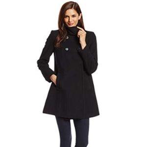 Larry Levine Double-Breasted Black Wool Plush Coat